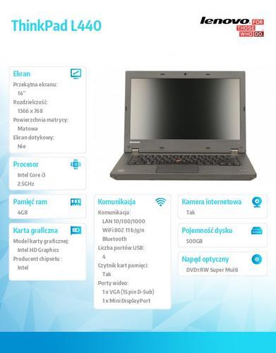 """Lenovo ThinkPad L440 20AT004BPB Win7Pro & Win8.1Pro 64-bit i3-4100M/4GB/500GB/Intel HD/DVD Rambo/6c/14.0"""" HD Led Backlit AG, Black, WWAN Ready"""