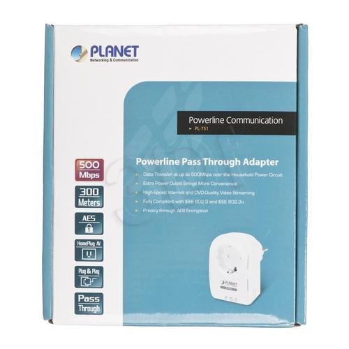 PLANET PL-751 Powerline 500Mbit z gniazdem 230V