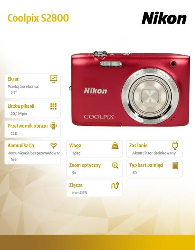 Nikon Coolpix S2800 czerwony 20,1M,5xOZ,720