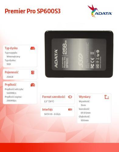 A-Data SSD Premier SP600 256GB 2.5'' SATA3 JMF661 500/280 MB/s