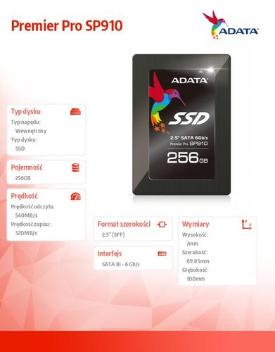 A-Data SSD Premier Pro SP910 256GB 2.5'' SATA3 Marvell 88S9187 540/320 MB/s