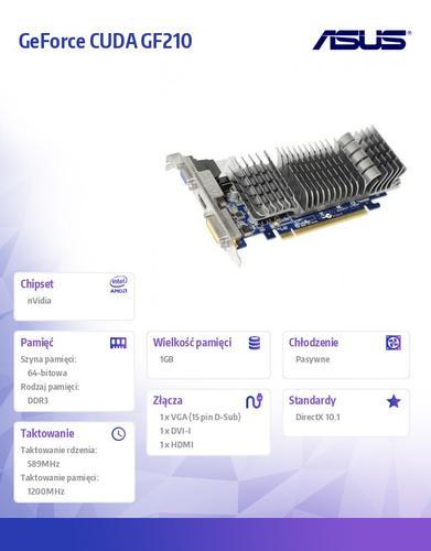 Asus GeForce CUDA GF210 1GB DDR3 PCI-E 64BIT D-SUB/DVI/HDMI LP BOX