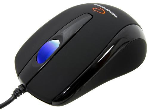 ESPERANZA Mysz, Przewodowa, Optyczna 800 DPI, USB, Gumowana, Świecąca Rolka - EM115K CZARNA