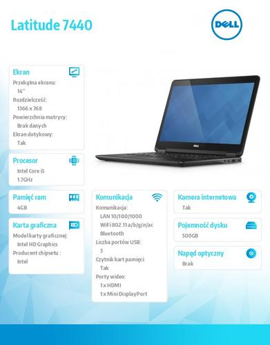 "Dell Latitude E7440 W78.1P (lic. 64-bit Win8, nosnik) I5-4210U/500GB/4GB//HD4400/BT 4.0/4CELL/38M NBD/14""HD/KB_BLIT/3YNBD"