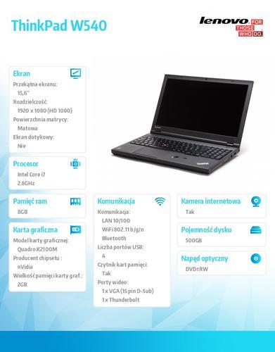 "Lenovo ThinkPad W540 20BG0044PB Win7Pro & Win8.1Pro 64-bit i7-4810MQ/8GB/500GB/Quadro K2100M 2GB/DVD Rambo/9c/15.6"" FHD AG Black, WWAN Ready"