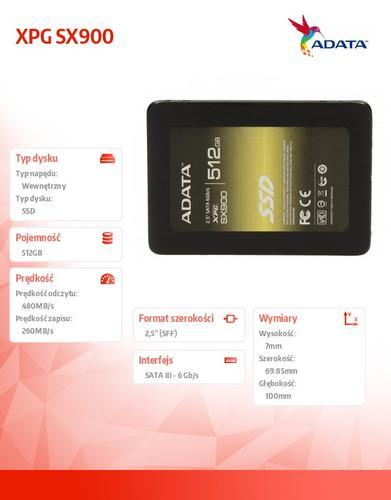 A-Data SSD XPG SX900 512GB 2.5'' SATA3 SF2281 Sync 560/540 MB/s