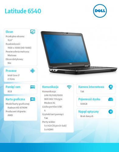 """Dell Latitude E6540 Windows 7 Pro PL i74800MQ/500+8GB SSHD/8GB/HD8790/9Cell/15"""" FHD/FPR&SCR/KB_Backlit/WWAN/3YNBD"""