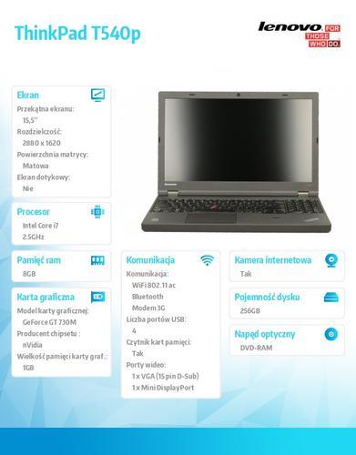 """Lenovo ThinkPad T540p 20BE00B8PB Win7Pro&Win8.1Pro 64-bit i7-4710MQ/8GB/SSD 256GB/GT730M 1GB/DVD Rambo/9c/15.5"""" 3K IPS AG,WWAN Ready/LTE/Black/3Yrs OS"""