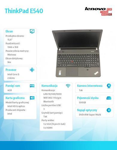 "Lenovo ThinkPad E540 20C600JBPB Win7Pro & Win8.1Pro i5-4210M/4GB/500GB/Intel HD/DVD Rambo/6c/15.6"" HD AG, Midnight Black (Non-WWAN)"