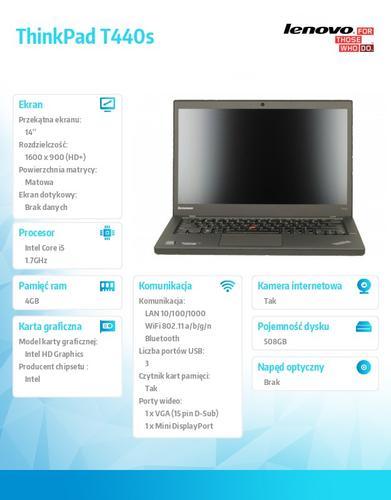 """Lenovo ThinkPad T440s 20AQ0099PB Win7Pro & Win8.1Pro 64-bit i5-4210U/4GB/500GB SSHD 8GB/Intel HD/N-Optical/3c/14.0"""" HD+ Black, LTE"""