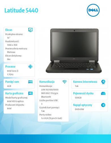 "Dell Latitude E5440 W78.1 (lic. 64-bit Win8, nosnik) i3-4010U/500+8GB SSHD/4GB/HD4400/DVD-RW/6cell/14"" HD/3Y NBD"