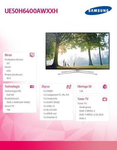 Samsung 50'' TV Slim LED Full HD UE50H6400AWXXH