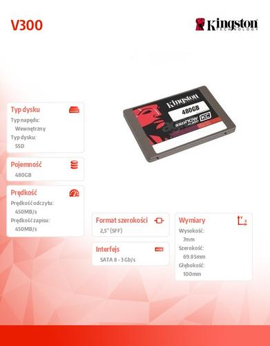 Kingston SSD V300 SERIES 480GB SATA3 2.5' 450/450 MB/s 7mm
