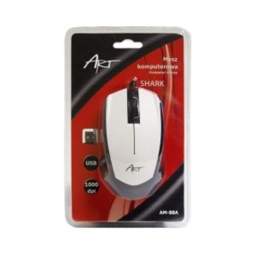 ART Mysz optyczna SHARK USB AM-88A biała