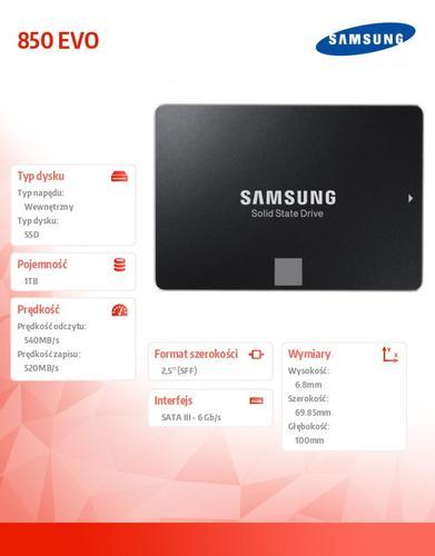 "Samsung SSD 850 EVO MZ-75E1T0B/EU 1TB SATA3 2,5"""