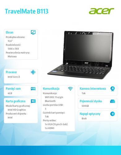 """Acer Travel Mate B113-M-33224G50AKK i3-3227U/11.6""""/Intel HD/4GB/500GB/W7Pro+Win8Pro"""