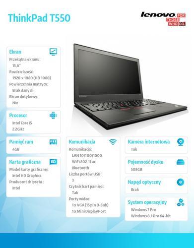"""Lenovo ThinkPad T550 20CK0008PB Win7Pro & Win8.1Pro 64-bit i5-5200U/4GB/500GB SSHD 8GB/HD5500/N-Optical/3c+3c/15.6"""" FHD,WWAN Ready,Black/3 Yrs OS"""