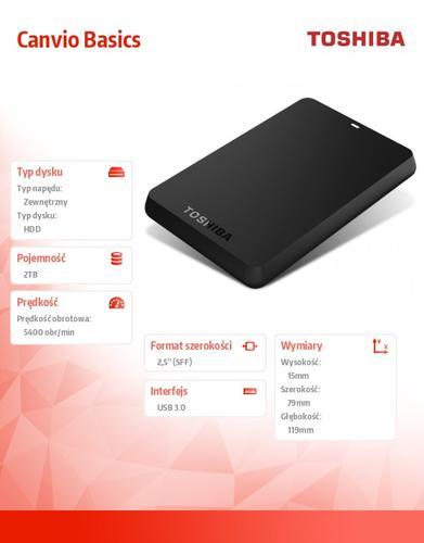 Toshiba CANVIO BASICS 2.5 2TB USB 3.0 BLACK