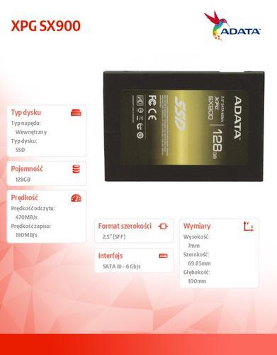 A-Data SSD XPG SX900 128GB 2.5'' SATA3 SF2281 Sync 555/530 MB/s