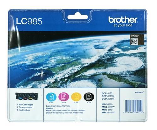 BROTHER Tusz LC985VALBP=LC-985VALBP, Zestaw CMYBk, LC985C+LC985M+LC985Y+LC985BK