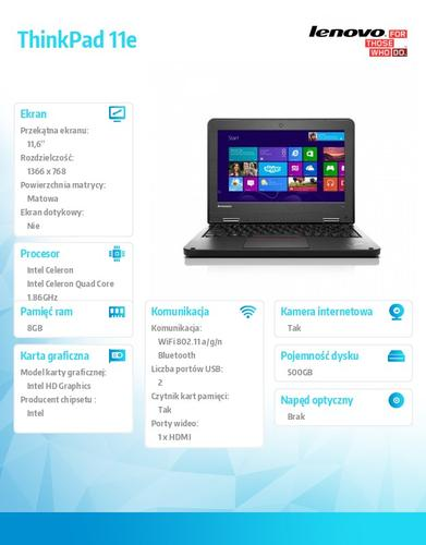 "Lenovo ThinkPad 11e 20DA0008PB Win 8.1 N2920/8GB/500GB/Intel HD/N-Optical/4c/11.6"" HD AG Graphite Black N-WWAN/1 Yr CI"