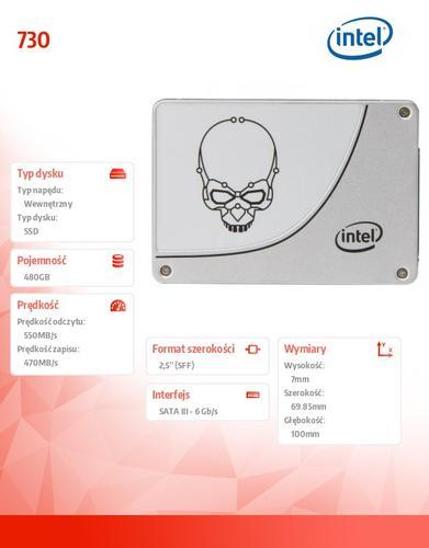 Intel SSD 730 480GB 7mm SATA3 550/470MB/s 2,5' Reseller Pack