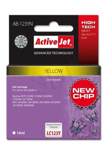 ActiveJet AB-123YN tusz żółty do drukarki Brother (zamiennik Brother LC123Y) Supreme