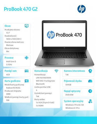 HP 470 G2 i5-5200U W78P 500/4G/DVDRW/17,3 K9J24EA