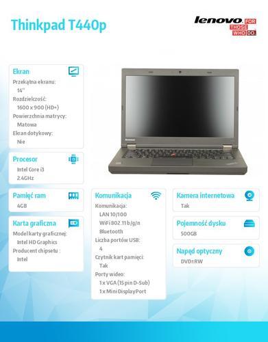 """Lenovo Thinkpad T440p 20AWS30T00 Win7Pro&Win8.1Pro64-bit i3-4000M/4GB/500GB/Intel HD/DVD Rambo/6c/14.0"""" HD+,WWAN Ready,Black/3Yrs CI"""