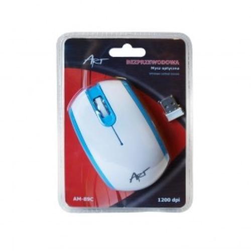 ART Mysz bezprzewodowo-optyczna AM-89C biało-niebieska