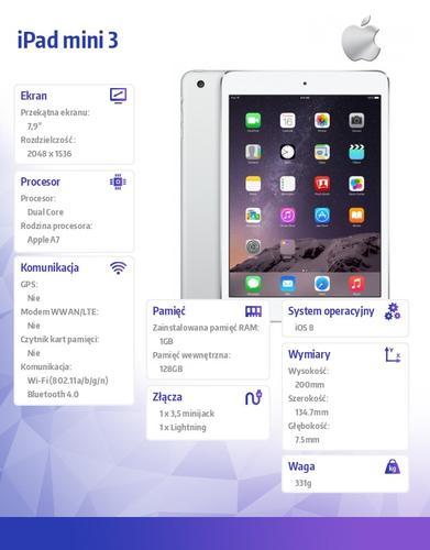 Apple iPad mini 3 128GB Wi-Fi Silver MGP42FD/A