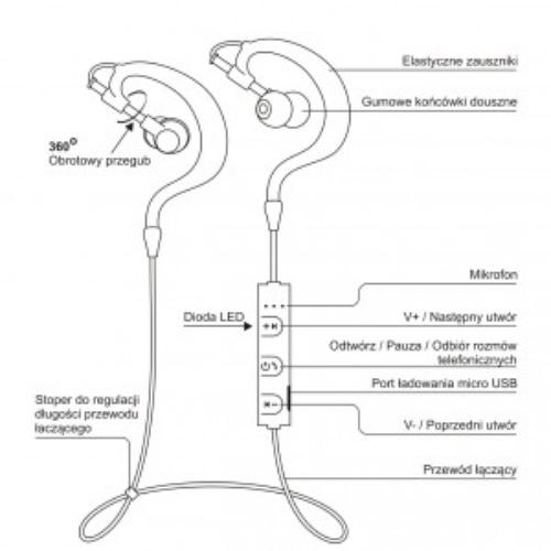 ART Słuchawki BT z mikrofonem AP-B23 Czarne/żółte Sport (EARHOOK)