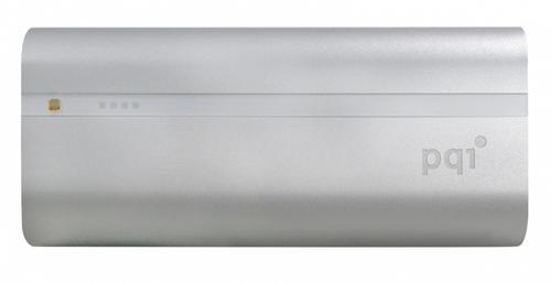 PQI POWER BANK 6000VmAh DUAL-USB 2,4/1,5A,SILVER, ALUMINIOWY