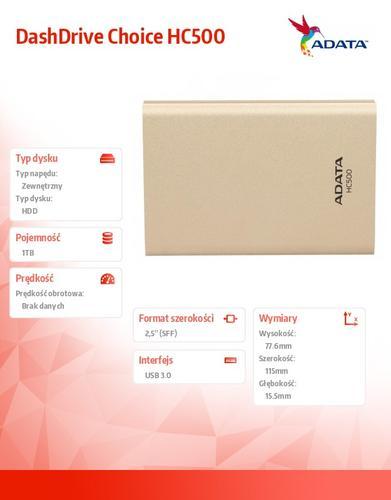 A-Data DashDrive Choice HC500 1TB 2.5'' USB3.0 Gold