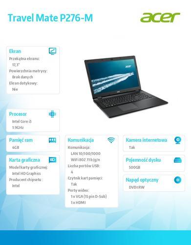 """Acer TravelMate P276-M-370U Win7Pro (Win 8.1Pro) i3-4030U/1*4GB/500GB/IntelHD/DVDRW/17.3"""""""