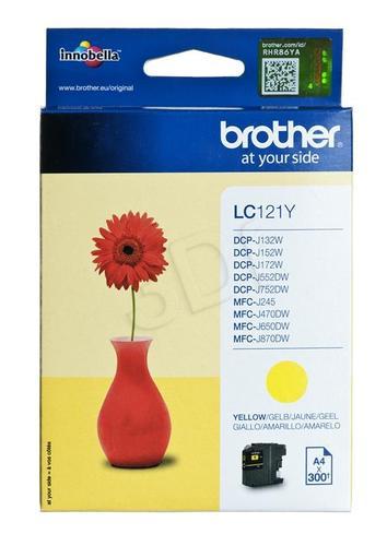 BROTHER Tusz Żółty LC121Y=LC-121Y, 300 str.