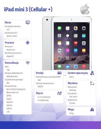 Apple iPad mini 3 128GB Wi-Fi Cellular + Silver MGJ32FD/A