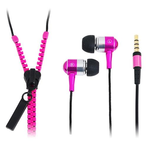 LogiLink Słuchawki z mikrofonem, stereo, 'Zipper' różowe