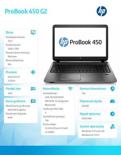 HP 450 G2 i7-5500U W78P 500/4G/DVDRW/15,6 K9K60EA