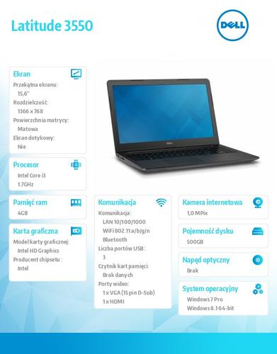 "Dell Latitude 3550 Win78.1(64-bit win8, nosnik) i3-4005U/500GB/4GB/BT 4.0/3-cell/Office 2013 Trial/Integrated HD4400/15.6""HD/3Y NBD"