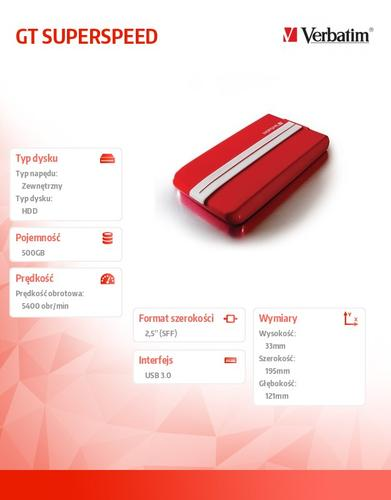 Verbatim 500GB 2,5'' HDD USB 3.0 zewnetrzny GT SUPERSPEED