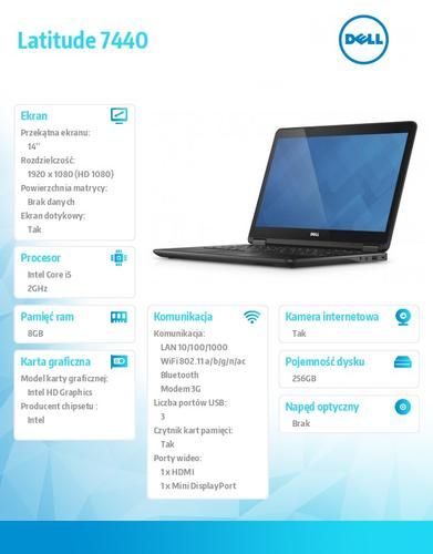 "Dell Latitude E7440 W78.1P (lic 64-bit Win8, nosnik) i5-4310U/256SSD/8GB/HD4400/4cell/14"" FHD Touch/3Y NBD/Backlit"