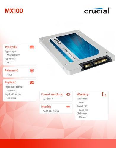 Crucial MX100 512GB SATA3 2.5 550/500 MB/s 7mm