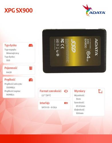 A-Data SSD XPG SX900 64GB 2.5'' SATA3 SF2281 Sync 555/520 MB/s