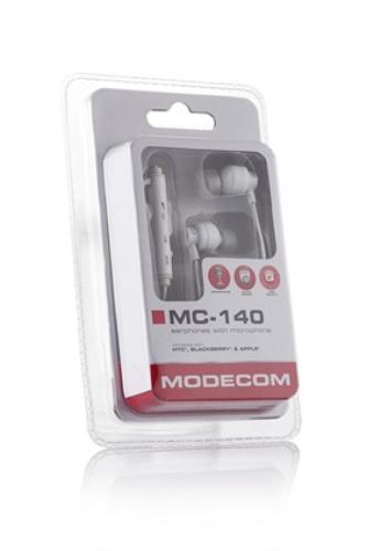Modecom SŁUCHAWKI DOUSZNE Z MIKROFONEM MC-140 WHITE