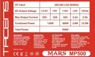 Tacens MARS GAMING MP 500W 85PLUS BOX