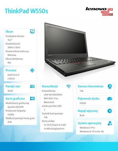 """Lenovo ThinkPad W550s 20E1000BPB Win7Pro & Win8.1Pro i7-5600U/16GB/SSD 512GB/K620M 2GB/N-Optical/3c+6c/15.5"""" 3K IPS AG,WWAN Ready,Black/3 Yrs OS"""