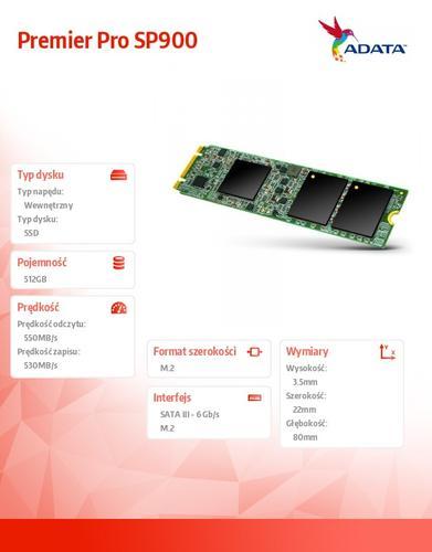 A-Data SSD Premier Pro SP900M.2 2280 512GB SATA3 8cm