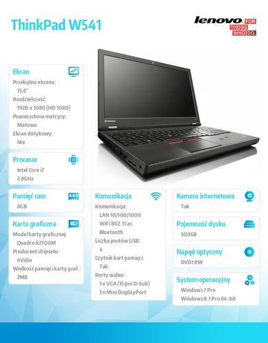 "Lenovo ThinkPad W541 20EF000WPB Win7Pro & Win8.1Pro 64-bit i7-4810MQ/8GB/500GB/K2100M2GB/DVD Rambo/9c/15.6"" FHD AG,WWAN Ready,Color Sensor,Blk/3Yrs OS"