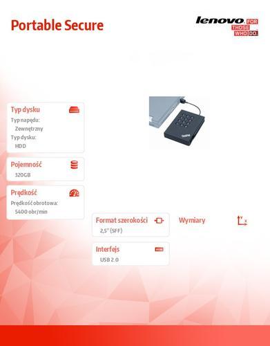 Lenovo ThinkPad USB Portable Secure Hard Drive 320G